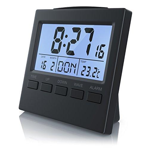 CSL - Funkwecker digital mit Temperaturanzeige - DCF-Funkuhr Reisewecker - 3,3 Zoll LCD-Display mit Blauer LED Hintergrundbeleuchtung - Schlummerfunktion Snooze - Innen- Datums- und Wochentagsanzeig