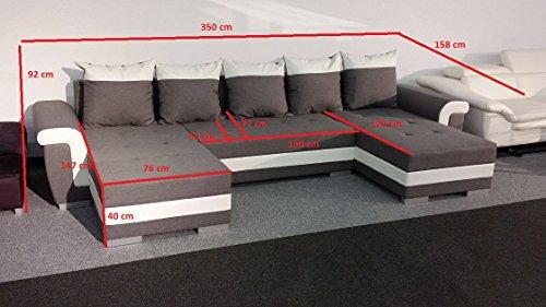 Couchgarnitur OPTI mit Schlaffunktion und Bettkasten als U Form in modernem Design, präzise verarbeitet, sehr komfortabel unter federt - 3