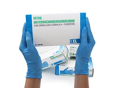 Nitrilhandschuhe 100 Stück Box (XL, Blau) Einweghandschuhe, Einmalhandschuhe, Untersuchungshandschuhe, Nitril Handschuhe, puderfrei, ohne Latex, unsteril, latexfrei, disposible gloves, blue, X Large