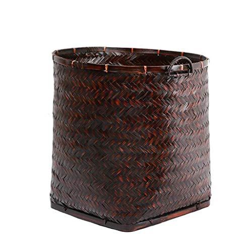 KKY-ENTER Panier à linge tressé en bambou Retro Portable Home Panier à linge sale Coffre à Linge (taille : 41 * 43cm)