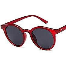 Gafas de sol redondas - Rojo - Amazon.es