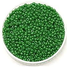 Creafirm - 15 grammes de Perles Miyuki Rocailles 11/0 Vert Opaque Lustré 431