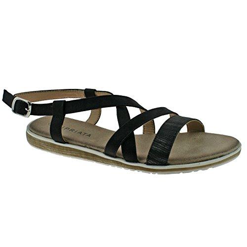 Cipriata Ladies Black Shimmer Buckle Halter Crossover Low Wedge Sandals L050A KD-UK 7 (EU 40)