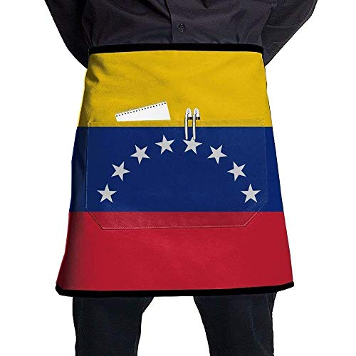 GDESFR Apron with Pock,Flag of Venezuela Bib Aprons Classic Pockets Half-Length Long Waist Kitchen Aprons Half Aprons