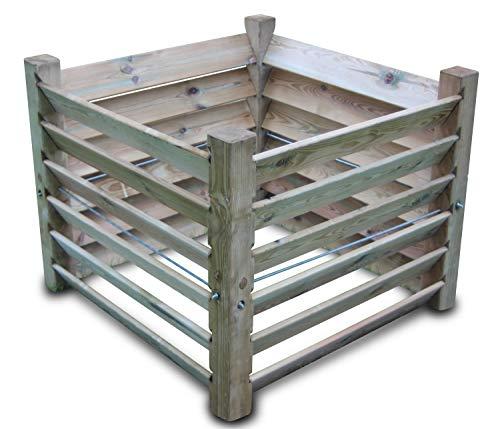 Compostador de madera (medidas: 100x 100x 80cm,capacidad aprox. 800litros)