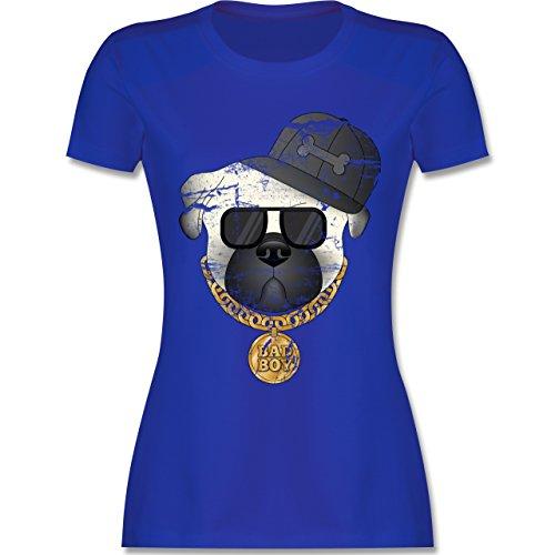 6c6fefb822bb Hunde Bad Boy Mops Vintage Damen TShirt Rundhals Royalblau -ebridges.eu