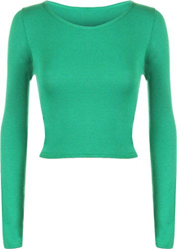 Plus You donna tinta unita Full a maniche lunghe girocollo Slim Fit skinny mini crop top corto maglietta taglia S/M m/L UK: 8 – 14 – EU: 36 – 42 Jade Green