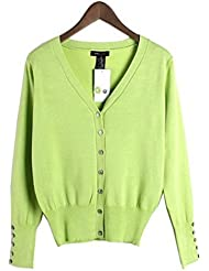 YueLian Mujeres Otoño Novedad V-cuello Color Sólido Abrigador Traje Chaqueta China con Botones Jersey Suéter de Punto Tops