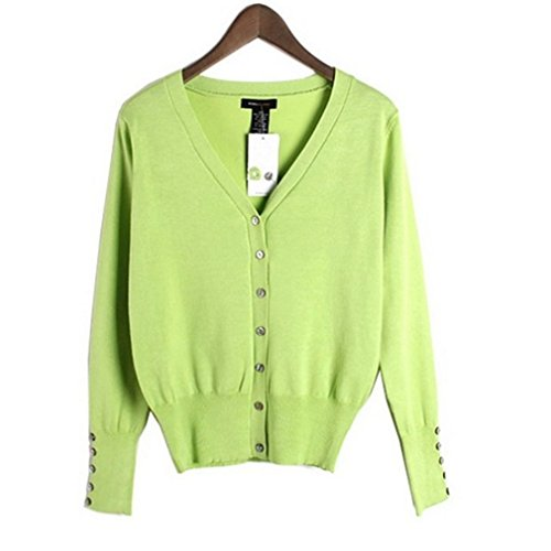 ACVIP Femmes Cardigan Pull-over Long Manches Col en V Bouton avant Tricot, 8 Couleurs Vert