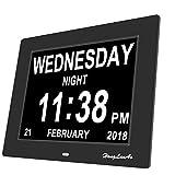 Honglanao® Reloj Calendario Actualización   Con Función de Alarma 8' Digital Calendario Día Reloj No Abreviatura de Letras   Reloj Digital Avanzado Para Los Pacientes de Alzheimer (Negro)