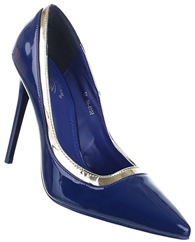 Damen-Schuhe Pumps | Frauen High Heels mit 11 cm Stiletto-Absatz in verschiedenen Farben und Größen | Schuhcity24 | Klassische Abendschuhe in Lacklederoptik Blau