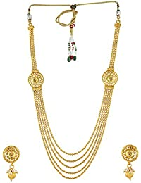 Anuradha Art Golden Finish Classy Multiple Designer Traditional Long Necklace Set For Women