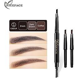 NICEFACE 4 en 1 Lápices para Cejas con 3 colores de Repuestos y Ceipillo Colores para Cejas de Doble Cabeza para Maquillaje profesional