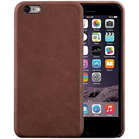 iPhone 6 Plus / 6S Plus Funda, FUTLEX Trasera Funda de auténtico cuero - Café - Ultra fino - Diseño y corte preciso - Hecho a mano