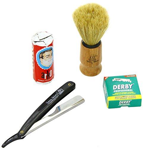 SF228 Straight Rasierer in schwarz, Shaving Factory Rasierpinsel, 100 Derby Rasierklingen, Arko Rasiercreme-Stick