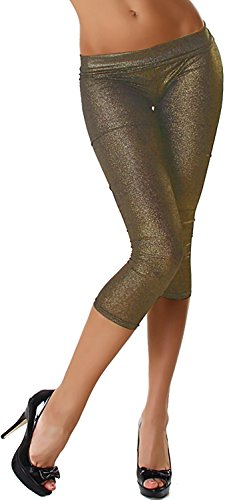 Jela London 3/4 Capri Freizeit-Leggings Tanzsport Wetlook Glanz Glitzer kurz, Bronze/Brit Grün Wet-look-capri-leggings