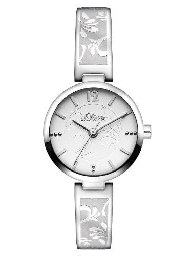 s.Oliver SO-2763-MQ - Reloj analógico de cuarzo para mujer con correa de acero inoxidable, color plateado
