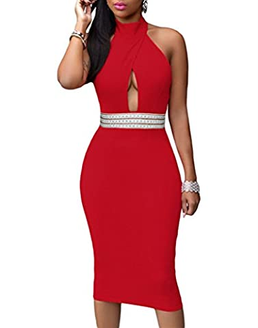 Dokotoo Womens Sexy Clubwear Backless Jeweled Waist Turtleneck Midi Dress, Large Red