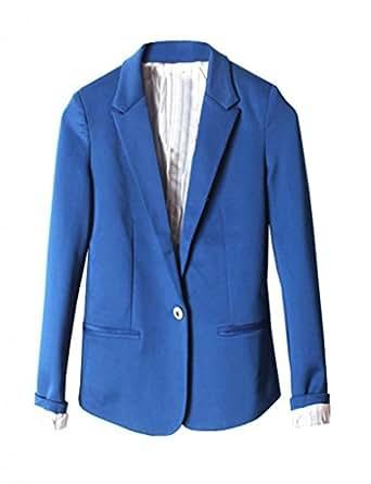 Damen Blazer Anzug Business kurz Jacke V-Ausschnitt DR164 Blau Gr.L