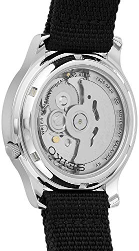 Seiko 5 Men's Automatic Watch with Black Dial Analogue Display and Black Fabric Strap SNK809K2