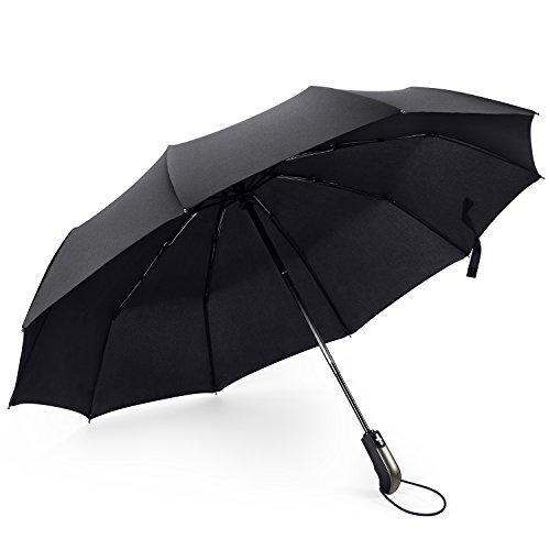 Regenschirm Taschenschirm Groß mit 10 Edelstahl-Rippen Winddicht Kompakt Leicht Stabiler Schirm Voll-automatischer Auf-Zu-Automatik Transportabel Reiseschirm für Frauen und Männer, Schwarz