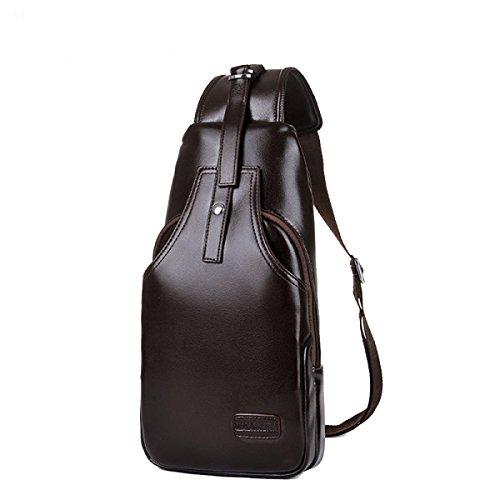 BULAGE Pack Brusttasche Ranzen Rucksäcke Taschen Mode Männer Taschen Herren Sport Freizeit Schulter- Messenger Atmosphäre Brown