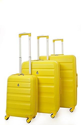 Aerolite set di 3 ABS trolley valigie rigide leggero con 4 ruote (Giallo)