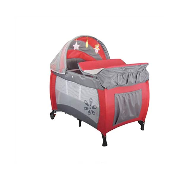Mr.LQ Multifunctional Foldable Crib Portable Game Bed,Red  [Folded Baby Cot]Due to its folding design, you can take it to anywhere as you like by packing it in the supplied carry bag, and it just takes you a while to fold or unfold it before using. [See-through safety mesh]It features mesh cloth on both sides, this netted areas allow your baby to see out clearly as well as an onlooker to see in to her/him, and it also offers great ventilation for your baby. [Easy to Move] It designed in two wheels and two legs, you can move it around easily without any problems with the help of two wheels, and there is no issue to worry the stability due to the two sturdy legs. 7