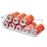 mDesign Caja de almacenaje para frigorífico y armarios de cocina - Contenedor de plástico ideal para alimentos, con capacidad para 9 latas - Práctico organizador de nevera - transparente