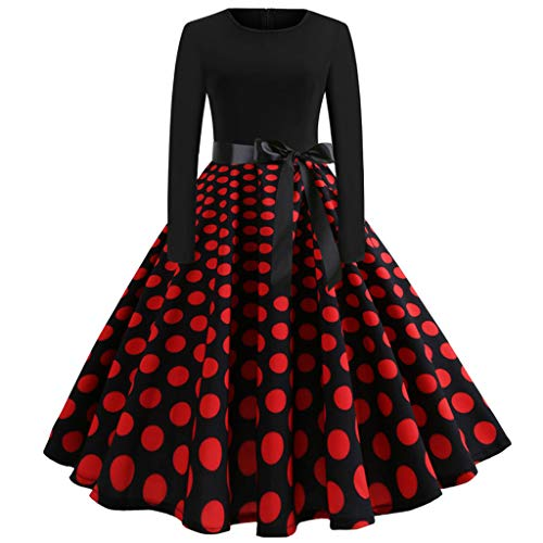 (OverDose Damen Urlaub Karneval Stil Frauen Casual Langarm Schlag Krawatte Druck Vintage Kleid Lange Abendgesellschaft Float Parade Dünnes Kleid Rock)