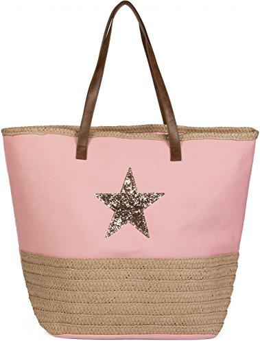 Bast-shopper (styleBREAKER Strandtasche mit Pailetten Stern und Bast, Schultertasche, Shopper, Badetasche, Damen 02012058, Farbe:Rosa)