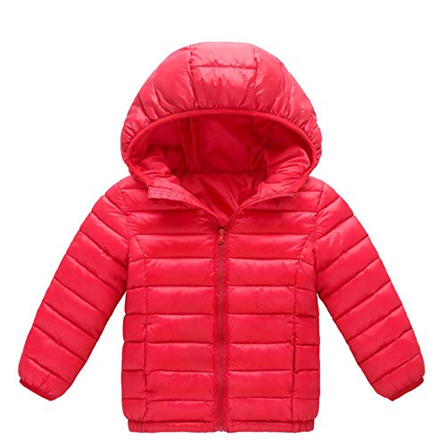 Zerototens Unisex Kids Autumn Winter Hoodie Jacket,0-8 Year Old Children Long Sleeve Plain Lightweight Zipper Down Coat Thick Warm Outdoor Windproof Padded Overcoat
