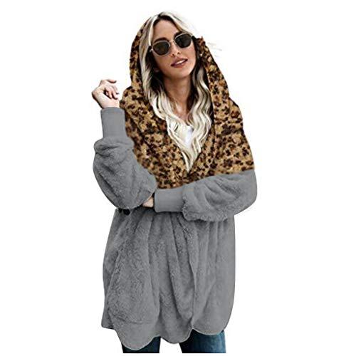 LILIGOD Giacca da Donna Leopardata di Peluche, Winer Plus Size Giacca Calda Splice Outwear Lungo Cappotto Autunno e Inverno Caldo Cappotto Cardigan con Cappuccio a Maglia Lunga Grau M