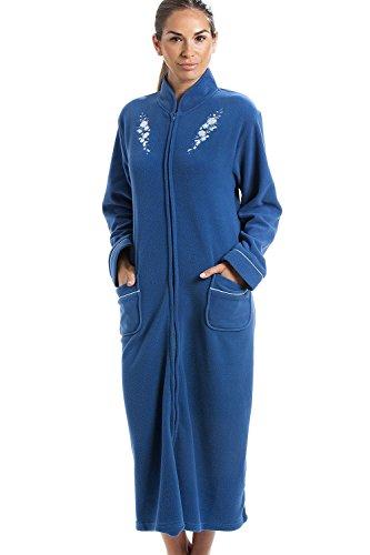 Robe de chambre - polaire douce/chaude - fermeture Éclair à l'avant - bleu 46/48