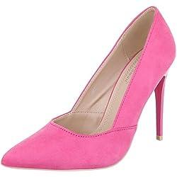 High Heel Damen-Schuhe Plateau Pfennig-/Stilettoabsatz High Heels Ital-Design Pumps Pink, Gr 37, 5015-31-