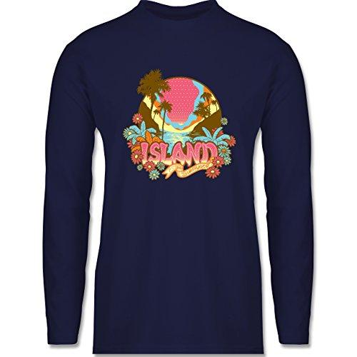 Blumen & Pflanzen - Urlaub Surfer - Longsleeve / langärmeliges T-Shirt für Herren Navy Blau