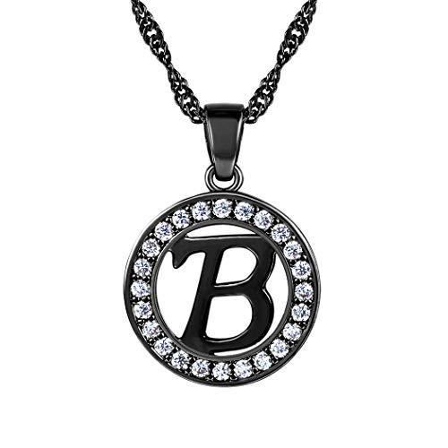 Suplight Anhänger Halskette Buchstaben Letter B Hohl Runde Kettenanhänger Alphabet Anfangsbuchstabe schwarz Metall plattiert Modeschmuck für Damen Frauen Mädchen