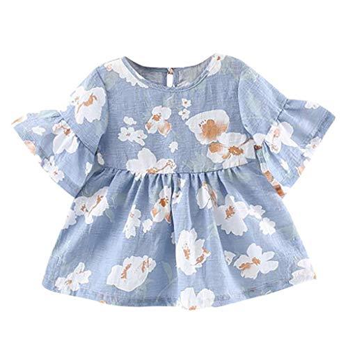 Zylione Baby Kleid Mädchen Trompete Ärmel Blumendruck Rock Kleid