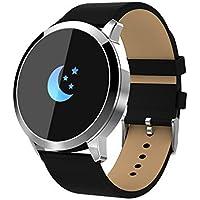 Q8 Smartwatch Fitness Armband | Pulsmesser Tracker IP67 Wasserdicht, Schlaf Monitor Kalorienzähler GPS, Bluetooth Kamera, Sport Fitness Tracker für Damen Herren mit iOS Android (Leder❤️ Schwarz)