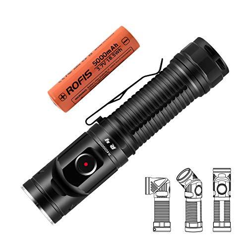 Rofis R4 Taschenlampe 2300 Lumen / 205 Meter CREE XHP50.2 LED USB Wiederaufladbare Multi-Winkel Drehung Scheinwerfer, mit 21700 Akku -
