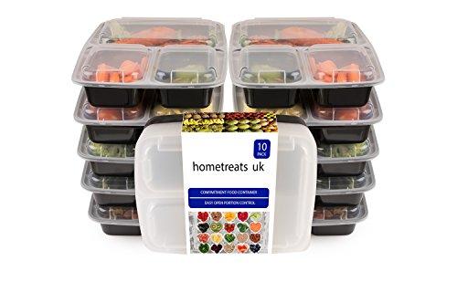 Home Treats 10Stück Meal Prep Food Behälter mit Deckel. Mikrowelle, Gefrierschrank und spülmaschinenfest Bento Box/Lunch Tablett 3 Compartments schwarz
