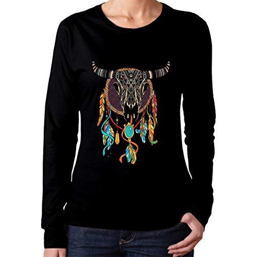 U are Friends Indianer Buffalo Schädel Womens Lady Long Sleeve Tee Sport T Shirt lässig(XXL,schwarz) (Tee Schädel-womens)