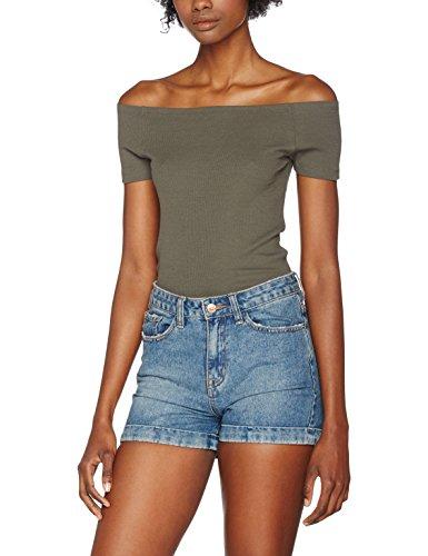 Urban Classics TB1500 Damen T-Shirt Ladies Off Shoulder Rib Tee TB1500, Gr. X-Small, Grün (Olive 176)
