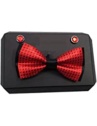 Red Eye Red Designer/Partywear Bow Tie & Cufflinks Set For Men