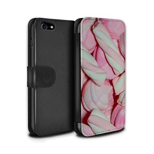 Stuff4 Coque/Etui/Housse Cuir PU Case/Cover pour Apple iPhone 8 / Lacets Fraises Design / Confiserie Collection Guimauve