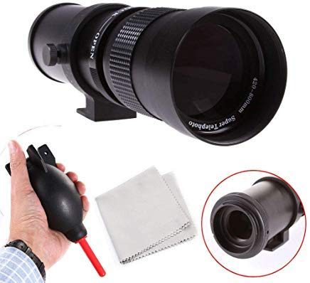 420-800mm f/8.3-16 Super Tele Zoom Objektiv Teleobjektiv Zoomobjektiv mit T Mount Adapter für Canon EOS 5D I II III IV, 6D, 7D, 10D 400D, 450D, 500D, 550D, 600D, 700D, 1000D, 1100D, 1200D DSLR Kamera