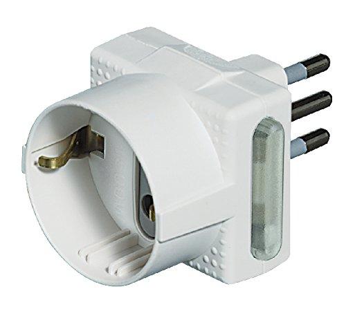 BTicino S3610D/F Adattatore per 1 Presa P30 ed 1 Presa 10A con Dispositivo Salvafulmine, Bianco