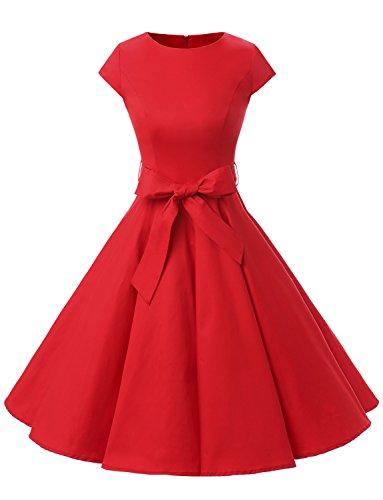 Dressystar DS1956 Robe à 'Audrey Hepburn' Classique Vintage 50's 60's Style à Mancheron Rouge XL