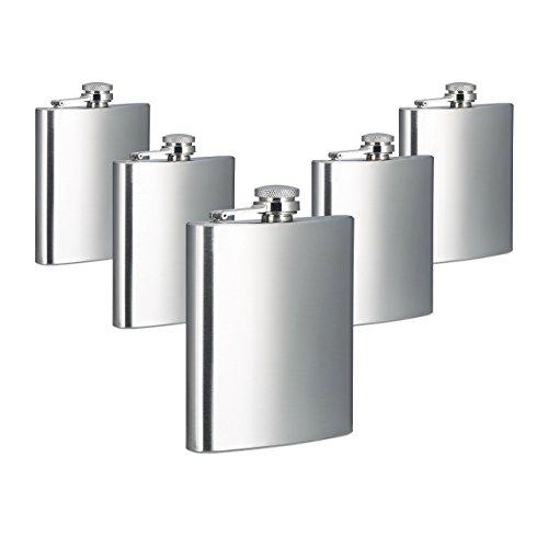 Relaxdays 5X Flachmann, 200 ml Füllmenge, 7 oz Volumen, Taschenflachmann, Schraubverschluss, Edelstahl, Silber, HBT 12 x 9 x 2 cm - Flasche Daniels Kunststoff-jack
