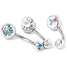 SODIAL(R) 8x Joya de cuerpo de titanio de diamante de imitacion piercing de ombligo